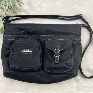 MULTISAC Black Faux Leather Vinyl Crossbody Bag